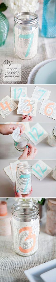 DIY wedding mason jars table number decoration idea