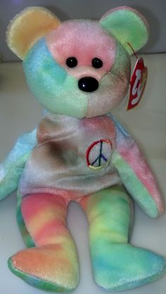 RARE Peace Bear Ty Beanie Baby Collectible Easter Tie Dyed Pastel Sherbet  Neon Multi Colored Birthday Party Gift Girl Boy CoWorker Collector e64ee5c1f994