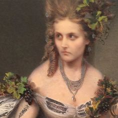 """Detail shot of the Countess of Castiglione. Pierre-Louis Pierson and Aquillin Schad, La Frayeur (Fright), 1861-64, salted paper print with gouache, 2015.395. Another image from the fascinating Grand Illusions exhibition. Virginia Verasis, Countess of Castiglione, mistress of Emperor Napolean III, posed for this """"staged"""" photograph. According to the label, she was a notorious beauty known for her flamboyant self-presentation . . . (reminds me a bit of Madame X, Virginie Gautreau)."""