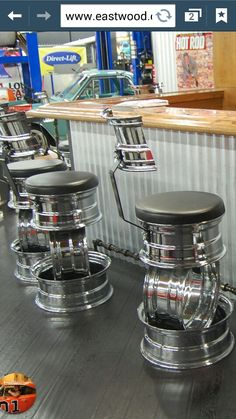 Wheel bar stools.