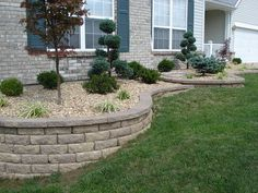 Front Yard Retaining Walls & Landscaping by A+ Landscape Solutions, via… Landscaping Retaining Walls, Privacy Landscaping, Country Landscaping, Outdoor Landscaping, Front Yard Landscaping, Outdoor Gardens, Yard Privacy, Landscaping Ideas, Landscaping Software