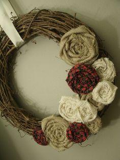 Burlap Grapevine Wreath. $30.00, via Etsy.