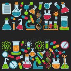 Doodle chemia naturalnych farmakologii nauk wektor zestaw Science Art, Notebooks, Art Drawings, How To Draw Hands, Doodles, Bullet Journal, School, Illustration, Pattern