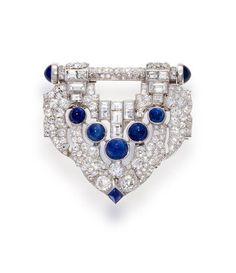 An art deco sapphire and diamond clip-brooch, J.E. Caldwell, circa 1925
