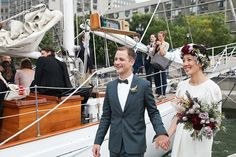 This Wedding Had A Very NYC Ending #refinery29  http://www.refinery29.com/stone-fox-bride/26#slide4  Around Labor Day I had the idea to hold our ceremony on a sailboat in the Hudson — partly in memory of that first date in Battery Park — and from there a plan fell into place for a full day with multiple locations around Lower Manhattan.