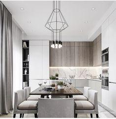 Most beautiful elegant modern dining room design ideas 2 Kitchen Room Design, Luxury Kitchen Design, Home Room Design, Kitchen Cabinet Design, Dining Room Design, Home Decor Kitchen, Interior Design Kitchen, Home Kitchens, Modern Kitchen Interiors