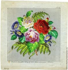 My latest obsession! The colours! Mini Cross Stitch, Cross Stitch Flowers, Cross Stitch Charts, Cross Stitch Patterns, Embroidery Patterns Free, Vintage Embroidery, Embroidery Designs, Cross Stitching, Cross Stitch Embroidery