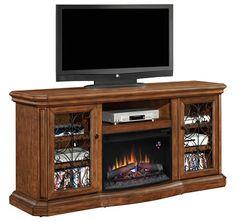 Classic Flame Beauregard Media Center Electric Fireplace with Fire Glass Insert Fireplace media center | seattleluxe.com