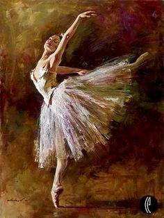 painting by Andrew Atroshenko. ballet dancer tutu flexible dance love passion