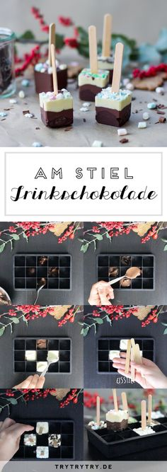 Schokolade am Stiel – Trinkschokolade als (Weihnachts-)Geschenk Chocolate on a stick – drinking chocolate as a (Christmas) gift Related posts:▷ ideas - make Christmas cards - great gift ideas for youDreifarbige Trinkschokolade am. Christmas Presents, Christmas Gifts, Christmas Ideas, Marshmallow Roasting Sticks, Marshmallow Snowman, Natal Diy, Chocolate Covered Marshmallows, Roasted Almonds, Mimosas