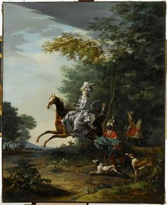 Louis-Auguste Brun, Marie-Antoinette hunting with Louis XVI in the background, 1783, Oil on canvas, 99.5 x 80 cm (Versailles)