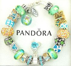 authentic pandora silver charm bracelet with charms turquoise butterfly blue  #Pandoralobsterclaspclaw #European