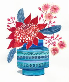 """""""Waratah and Pink Gum Blossom in Bitossi Vase"""" by Sally Browne. Paintings for Sale. Bluethumb - Online Art Gallery"""