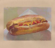 Gouache on Paper Backyard Hot Dog $75 original art Hot Dog Buns, Hot Dogs, Toned Paper, Drip Painting, Gouache, Original Art, Backyard, Ethnic Recipes, Food