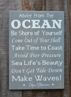 Beach Decor  Beach Sign  Coastal Art   Reclaimed Wood Painted Sign Beach House Advice by CarovaBeachCrafts