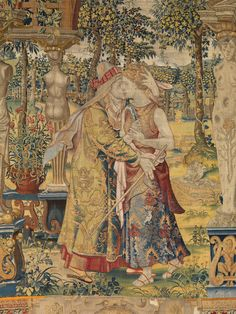 """Tapestry Depicting a Scene from """"The Story of Vertumnus & Pomona (detail) -- Design attributed to Pieter Coecke van Aelst (Netherlandish, -- The Metropolitan Museum of Art Medieval Tapestry, Medieval Art, World Tapestry, Unicorn Tapestries, Renaissance Kunst, Grand Designs, Tapestry Weaving, Middle Ages, Art History"""