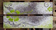 Acrylique sur 2 toiles 20x80cm - Motifs en relief - Made in Tahiti