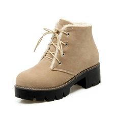 ffb41cf6725e College Womens Ankle Boot Med Block Heel Fleece Young Lace Up Round Toe  Platform