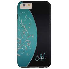Sleek Teal and Black Personalized iPhone 6 Plus Case.  Fill in your name and initial at the prompt and customize anyway you like.  #iPhone