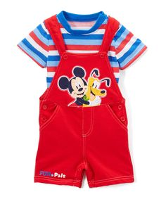 Take a look at this Red Mickey Mouse Tee & Shortalls Set - Infant today!