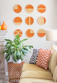 Arrangement of woven circles adds color and interest.
