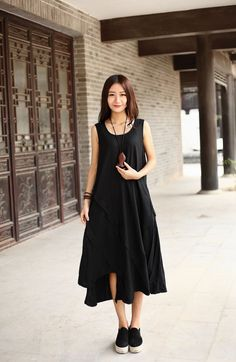 Asymmetrical Cotton dress Linen dress Casual loose Maxi dresses Sundress Large size Summer dress Extravagant Daywear Dress Plus size dress