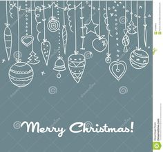 Photo about Hand drawn Christmas background, vector illustration - 21099604