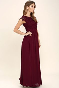 Celebrate your timeless beauty in The Greatest Burgundy Lace Maxi Dress! Stunning floral lace overlays a princess seamed bodice with sheer cap sleeves and a backless design (with top button). A cascading, full maxi skirt flows from a fitted waist. Hidden back zipper/hook clasp.