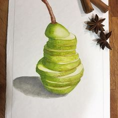 Pera e cannella. #slice #pear #cinnamon #illustration #illustrator #foodillustration #foodporn #foodstagram #watercolor #watercolorillustration #waterblog #coloraddict #drawing #drawingoftheday #drawaday