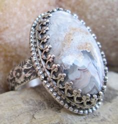Laguna Lace Agate and Sterling Silver Ring by PapasSterlingJewels