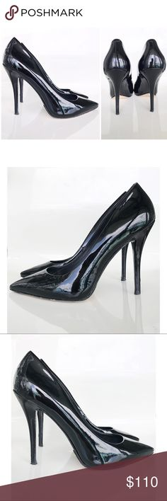 """Brian Atwood Black Patent Leather Desire Pumps Brian Atwood Black Patent Leather Desire Pumps! Excellent condition, gently used. Perfect classic black pumps for your closet! Pointed toe. Patent leather. Leather lining and sole. Has a small scratch on one heel (see 4th photo) 4.5"""" heel. Size 8 1/2. Brian Atwood Shoes Heels"""