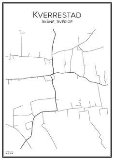 Kverrestad. Skåne. Sverige. Map. City print. Print. Affisch. Tavla. Tryck. Stadskarta.