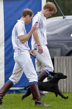 Lively Lupo the black cocker spaniel looked heen to bound off as Prince William and Prince Harry took some time away from the polo pitch