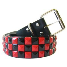 Pyramid Belt Red - Alternative, Gothic, Emo Clothing ($15) ❤ liked on Polyvore