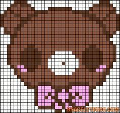 Kawaii Bear with Bow Hama Perler Bead Pattern or Cross Stitch Chart by alissa