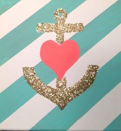 FREE SHIPPING! Adorable canvas glitter wall art featuring a gold glitter anchor with a heart with diagonal stripe background