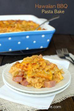 Cheesy Hawaiian Barbecue Pasta Bake
