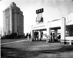 The Sunset Tower Apartments at 8358 Sunset Boulevard and the Standard Station across the street (1931)