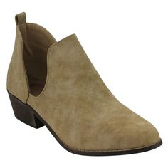Yoki Women's Black/ Faux-suede Side-slit Chunky Ankle Booties