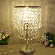 Modern Crystal LED Table Lamp Desk light Lamp dimmer Bedroom Lighting bulbs