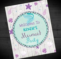 Mermaid Birthday Sign - Welcome To My Mermaid Party - Summer Theme - Ocean Party - Printable or Printed - SHIPPING INCLUDED - 8x10