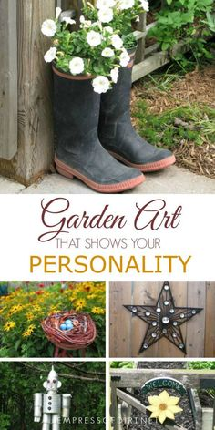 Easy garden art ideas that show your personality. #gardening #gardenart #gardenjunk #gardendecor #uniquegarden #diy #empressofdirt