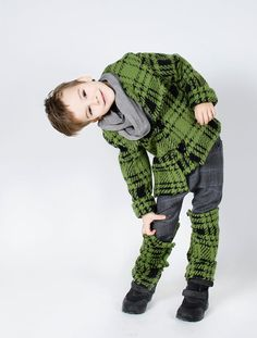 Wool Jacket / Coat for boys / Green / Black by FancyFlax on Etsy