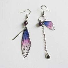 Wing Earrings, Butterfly Earrings, Butterfly Wings, Cute Earrings, Statement Earrings, Dangle Earrings, Amethyst Jewelry, Amethyst Earrings, Ankle Tattoos For Women Anklet