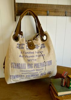 #bag #vintage - piece of wearable art made from an actual vintage seed sack fabrics- a collector's item from the 40s/50s