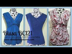 Confección Blusa BC121 con nudo adelante - YouTube