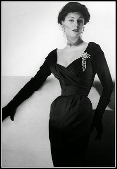 Stella in a silk crèpe cocktail dress by Jacques Fath, photo by Guy Arsac, 1953