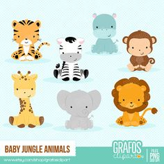 BABY JUNGLE ANIMALS - Digital Clipart Set, Animals Clipart, Zoo Clipart, Jungle…