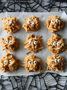 Peanut Butter Haystacks - a recipe from my childhood. Make them plain for Christmas plates or add monster eyes for a scary treat for Halloween. the-girl-who-ate-everything.com