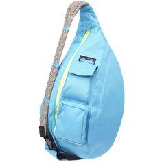 Kavu Rope Sling Bag ($35) ❤ liked on Polyvore featuring bags, backpacks, kavu, sling backpack, backpack bags, blue backpack and kavu bags